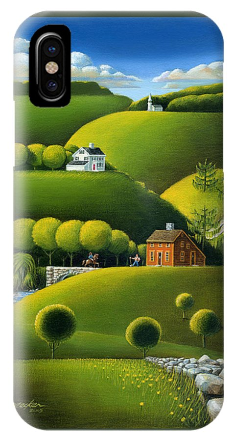 Deecken IPhone X Case featuring the painting Foothills Of The Berkshires by John Deecken