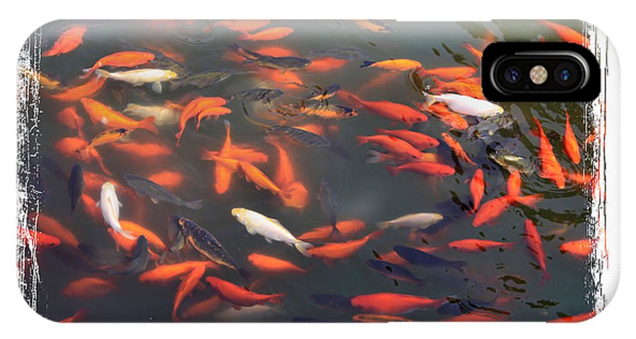 Koi IPhone X Case featuring the photograph Koi Pond With Framing by Carol Groenen