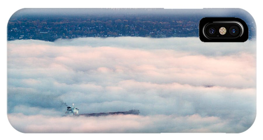 Autumn IPhone X Case featuring the photograph Freighter In The Clouds by Michael Russell