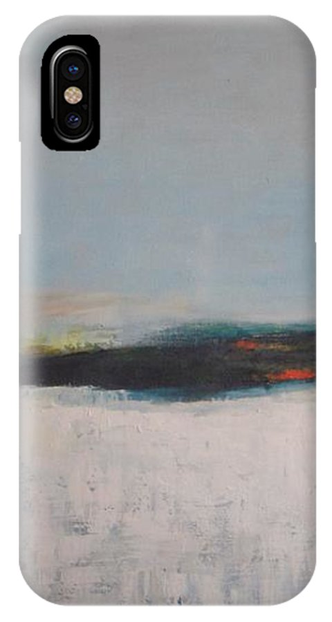 Abstract Landscape IPhone X Case featuring the painting Frozen Lake by Vesna Antic