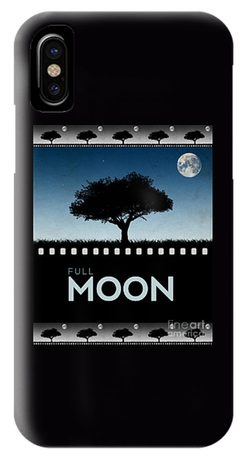 Moon IPhone X Case featuring the digital art Full Moon by Phil Perkins