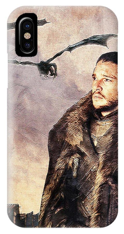 Game Of Thrones IPhone X Case featuring the digital art Game Of Thrones. Jon Snow. by Nadezhda Zhuravleva