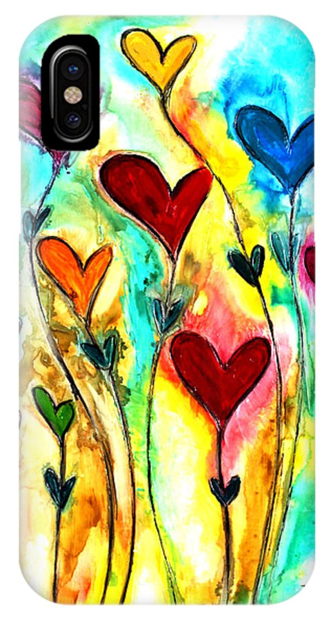Heart IPhone X / XS Case featuring the painting Garden Of Love by Ivan Guaderrama