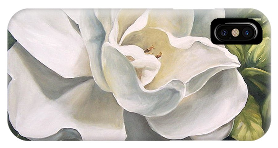 Flower IPhone X Case featuring the painting Gardenia by Natalia Tejera