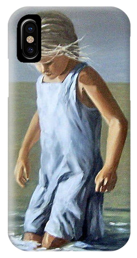 Girl Children Reflection Water Sea Figurative Portrait IPhone X Case featuring the painting Girl by Natalia Tejera