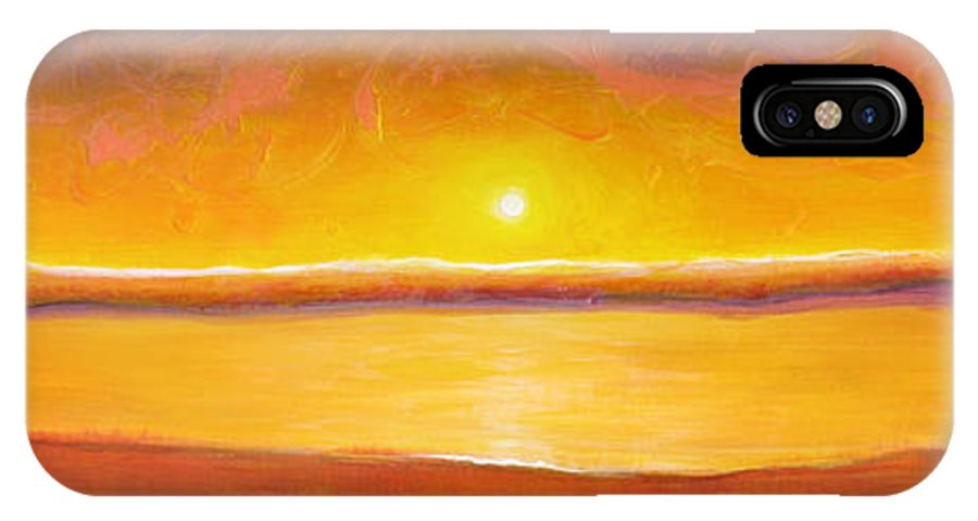 Sunset IPhone Case featuring the painting Gold Sunset by Jaison Cianelli