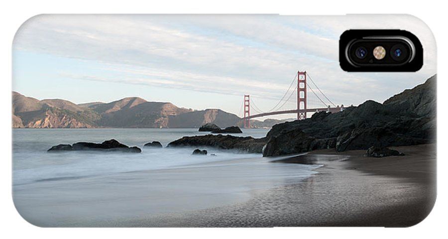 Golden IPhone X Case featuring the photograph Golden Gate Bridge by Wim Slootweg