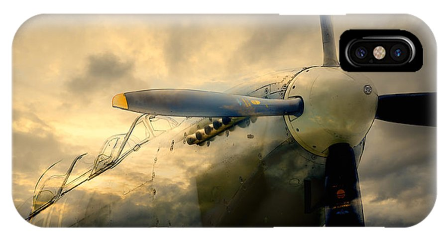 Supermarine IPhone X Case featuring the digital art Grace Spitfire Ml407 by Nigel Bangert