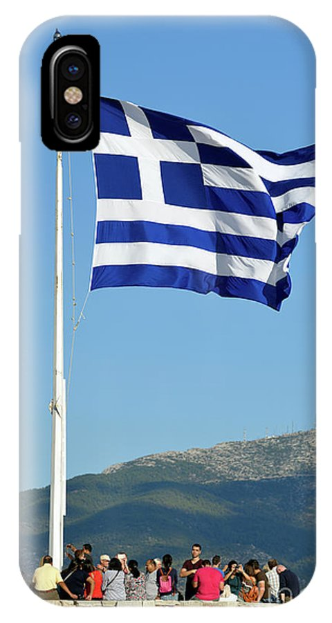 Acropoli IPhone X Case featuring the photograph Greek Flag In Acropolis Of Athens by George Atsametakis