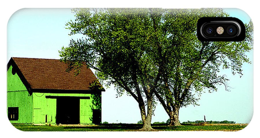 Green IPhone X Case featuring the photograph Green Barn by Harry Tart