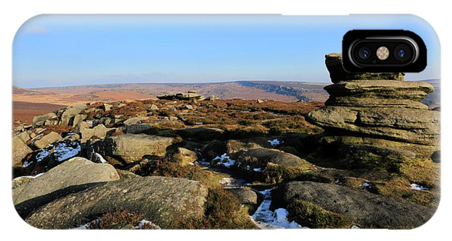 Gritstone Rocks IPhone X Case featuring the photograph Gritstone Rocks On Hathersage Moor, Derbyshire County by Dave Porter