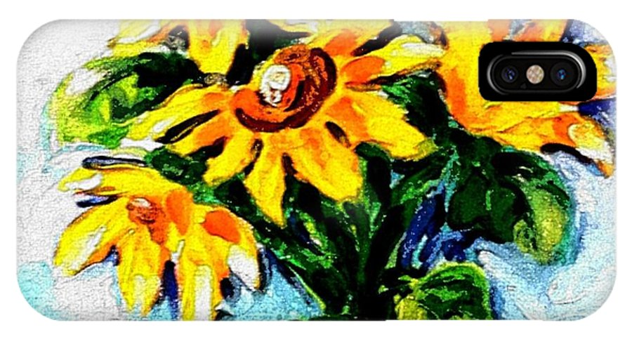 Sunflowers IPhone X Case featuring the painting Happy Sunflowers by Hae Kim