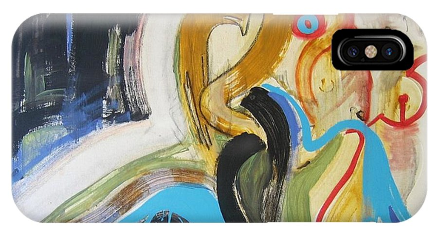 Abstract Art Paintings IPhone X / XS Case featuring the painting Hard To Escape by Seon-Jeong Kim