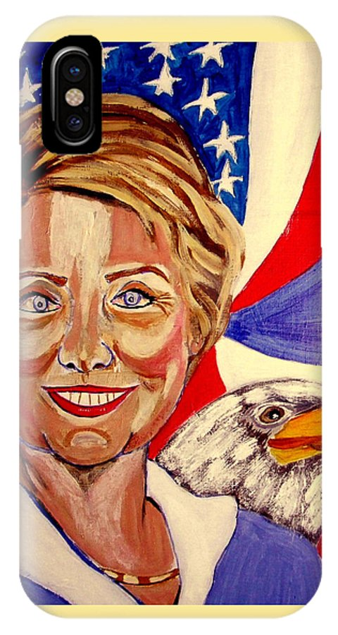 Hillimericks! Presidential Elections IPhone X Case featuring the painting Hillary Clinton by Rusty Gladdish