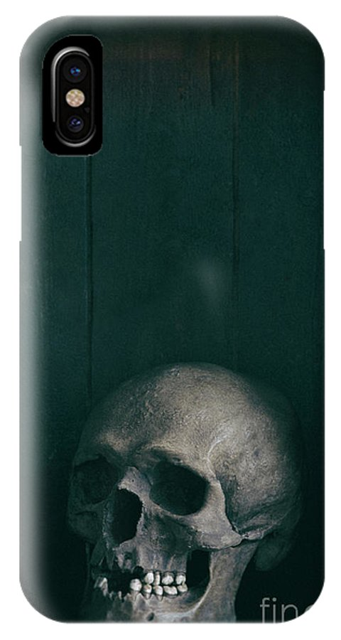 Skull IPhone X Case featuring the photograph Human Skull by Lee Avison