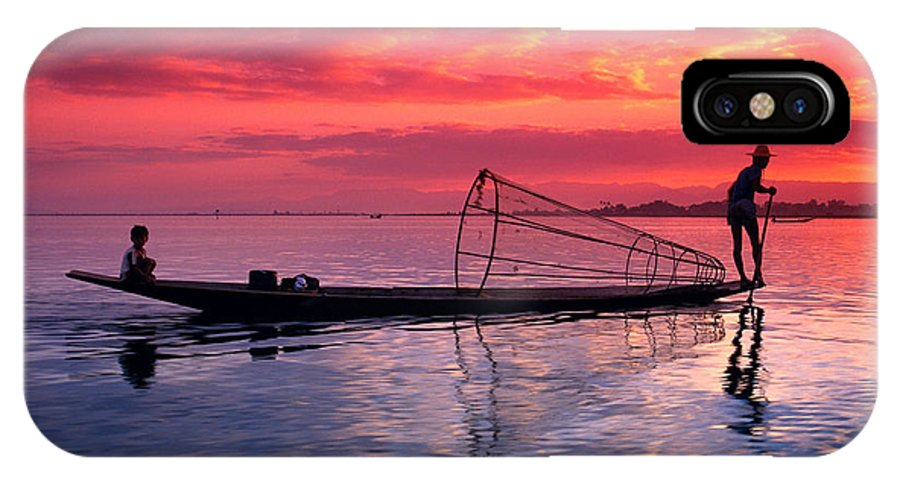 73-csm0075 IPhone X Case featuring the photograph Inle Lake Fisherman by Gloria & Richard Maschmeyer - Printscapes