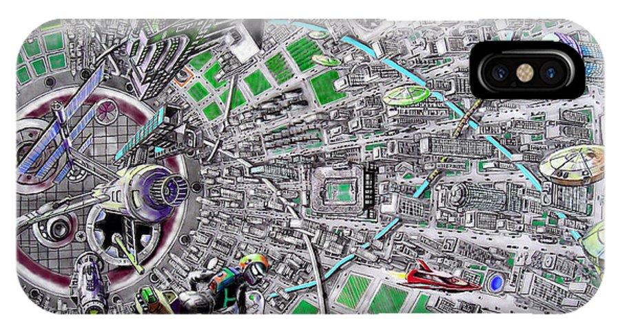 Landscape IPhone X Case featuring the drawing Inside Orbital City by Murphy Elliott