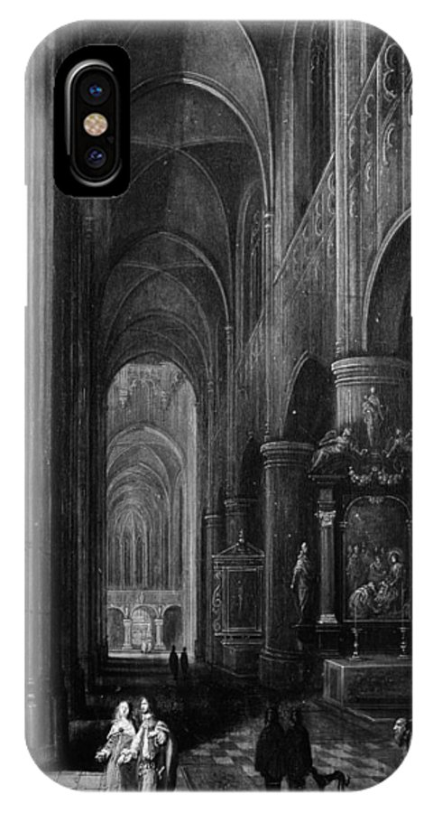 Pieter Neeffs The Younger Interior Of A Gothic Church At Night IPhone X Case featuring the painting Interior Of A Gothic Church At Night by Pieter Neeffs the Younger