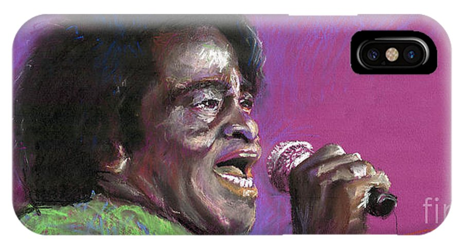 Jazz IPhone X Case featuring the painting Jazz. James Brown. by Yuriy Shevchuk