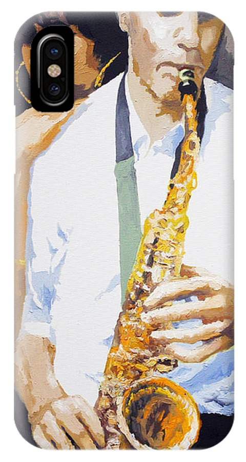 Jazz IPhone X Case featuring the painting Jazz Muza Saxophon by Yuriy Shevchuk