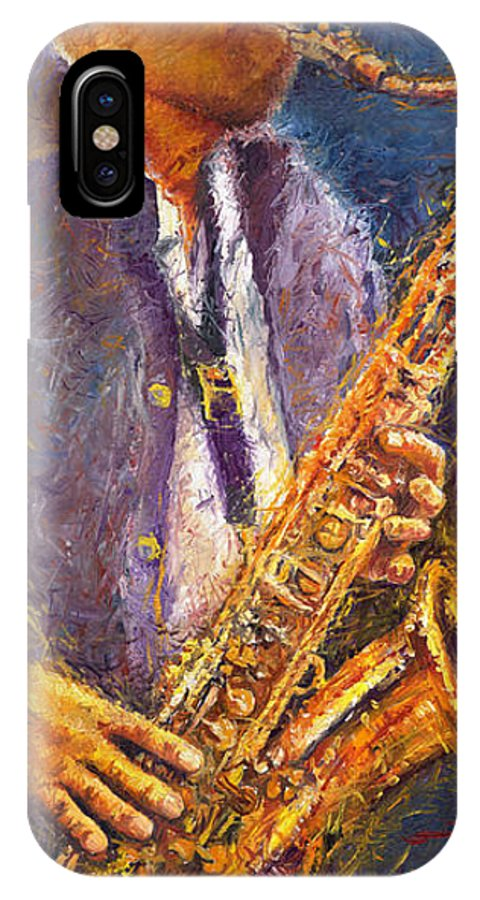 Jazz IPhone Case featuring the painting Jazz Saxophonist by Yuriy Shevchuk