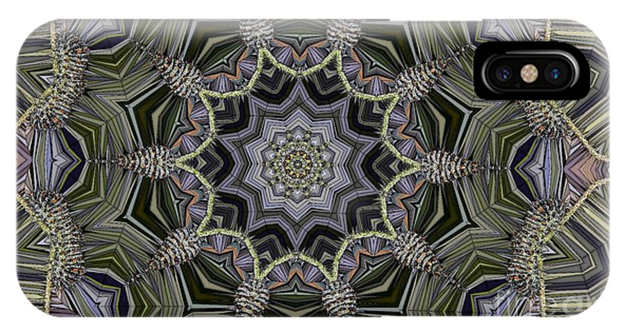 Kaleidoscope IPhone X Case featuring the digital art Kaleidoscope 96 by Ron Bissett
