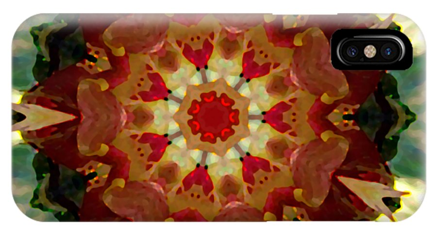 Kaleidoscopes IPhone X Case featuring the digital art Kaleidoscope - Warm And Cool Colors by Deleas Kilgore
