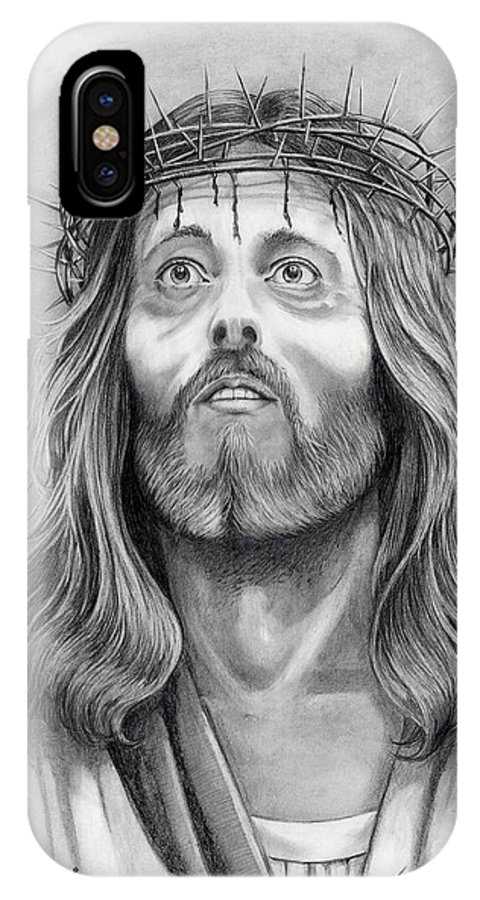 Jesus Christ IPhone X Case featuring the drawing King Of Kings by Murphy Elliott