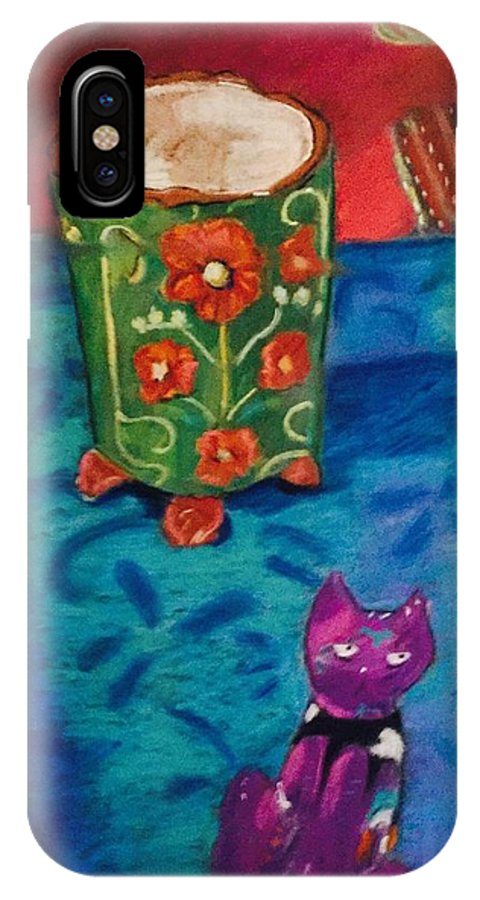 Pastel IPhone X Case featuring the painting Kitty Still by Andrea Torraca
