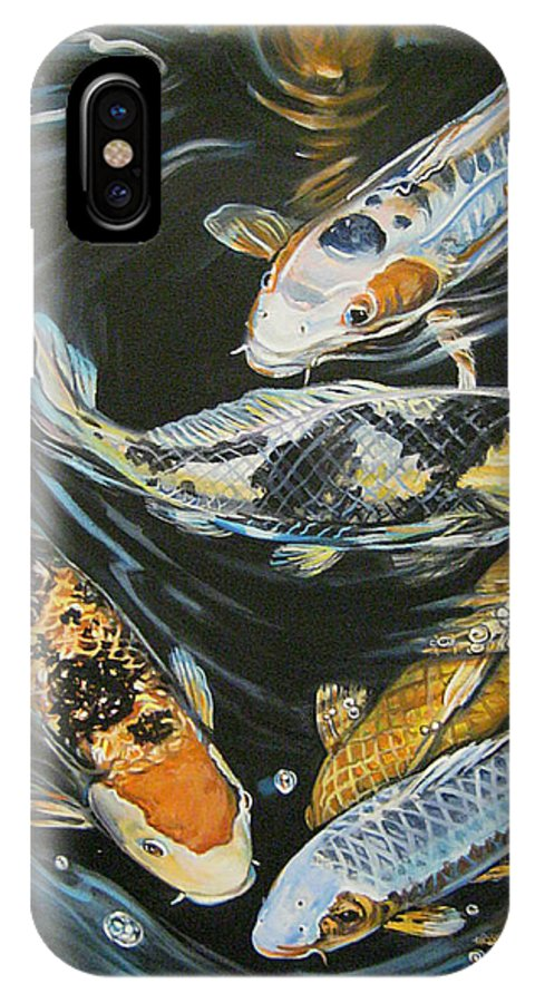 Fish IPhone X Case featuring the painting Koi Pond by Diann Baggett