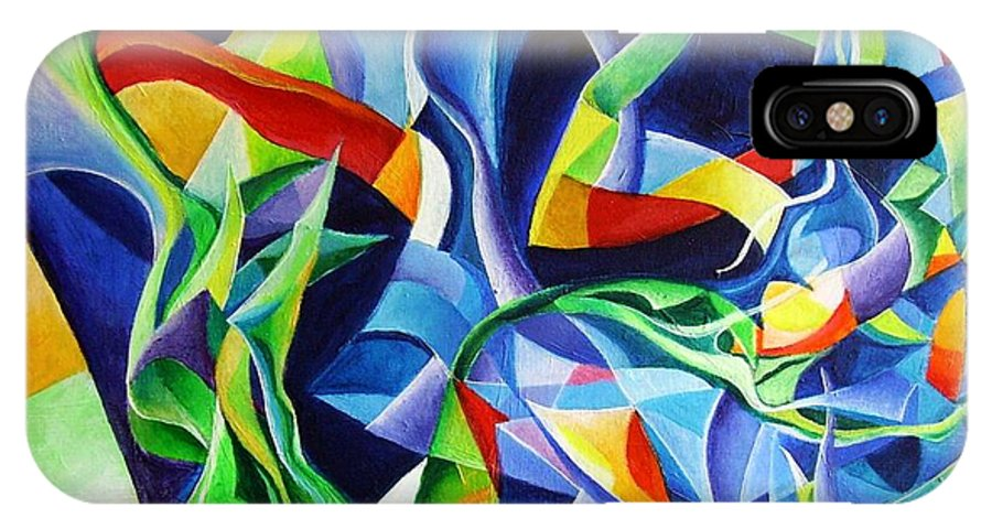 Claude Debussy Acrylic Abstract Pens Music IPhone X Case featuring the painting La Mer by Wolfgang Schweizer