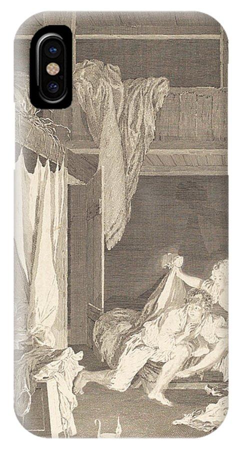IPhone X Case featuring the drawing La Sentinelle En D?faut by Nicolas Delaunay After Pierre-antoine Baudouin