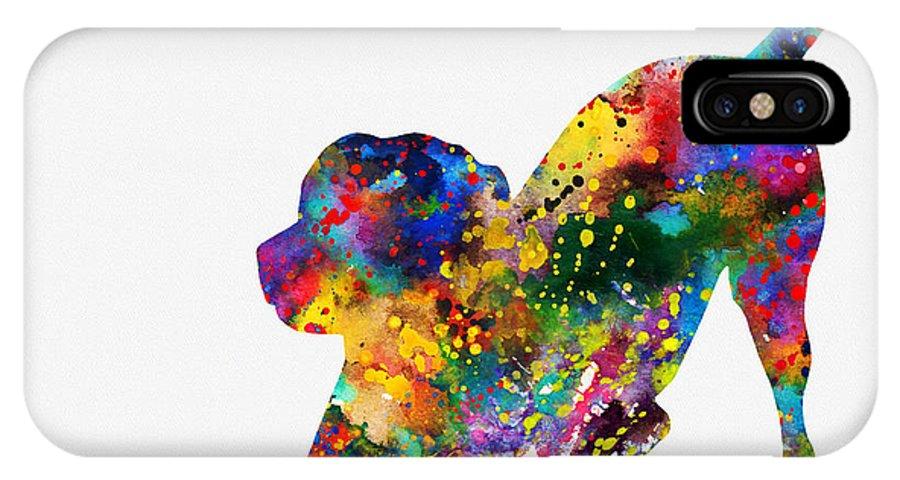 Labrador Retriever IPhone X Case featuring the digital art Labrador Retriever-colorful by Erzebet S