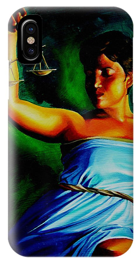 Law Art IPhone X Case featuring the painting Lady Justice by Laura Pierre-Louis
