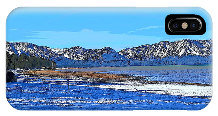 Blue IPhone X Case featuring the mixed media Lake Tahoe by Christina McNee-Geiger