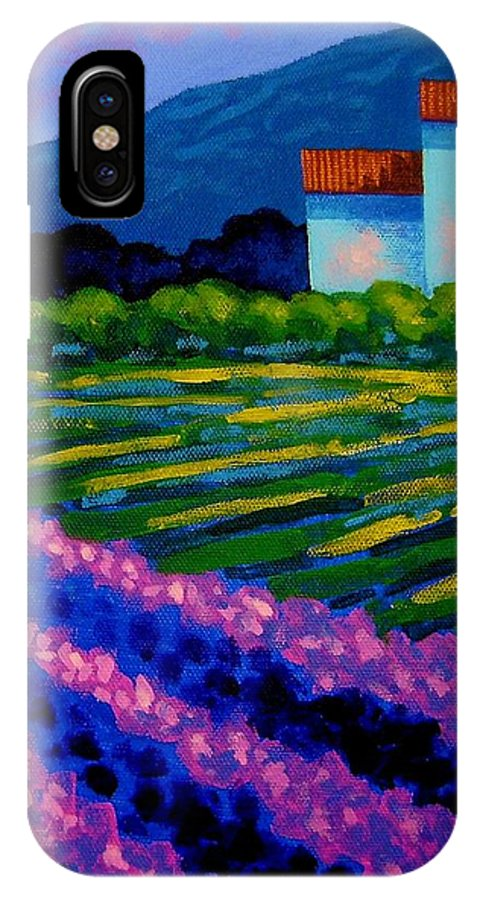 Landscape IPhone X Case featuring the painting Lavender Field France by John Nolan