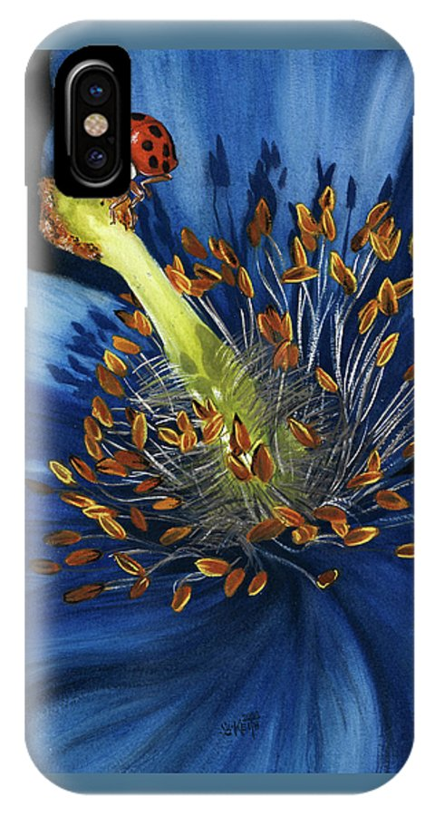Flower IPhone X Case featuring the painting Lazuline by Barbara Keith
