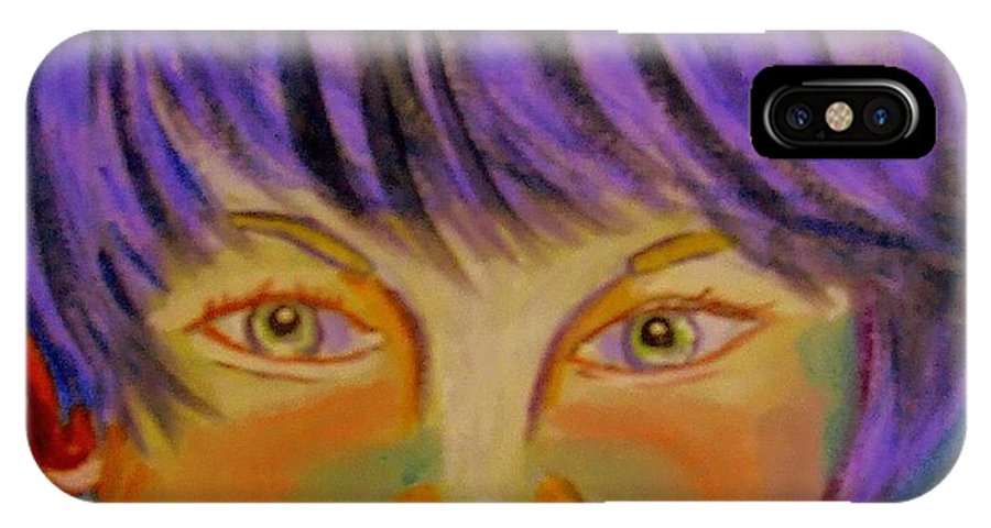 Youth IPhone X Case featuring the painting Le Manga Boy by Rusty Gladdish