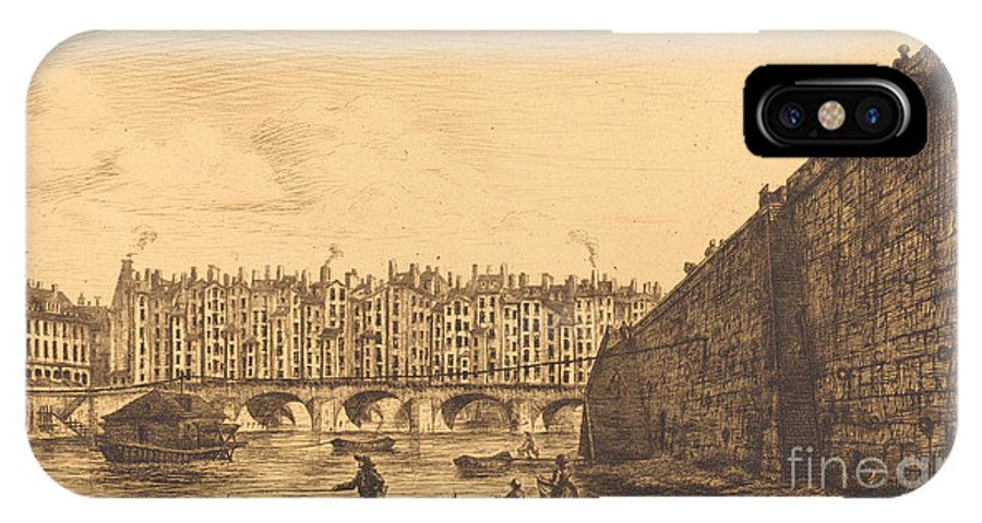 IPhone X Case featuring the drawing Le Pont-au-change, Paris, Vers 1784 by Charles Meryon After Victor Jean Nicolle