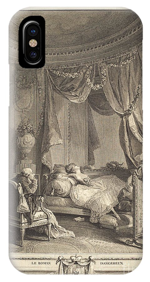IPhone X Case featuring the drawing Le Roman Dangereux by Isidore-stanislas Helman After Nicolas Lavreince