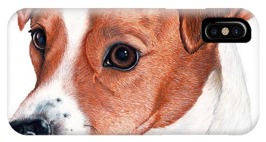 Jack Russell Terrier IPhone X Case featuring the drawing Lewie by Kristen Wesch