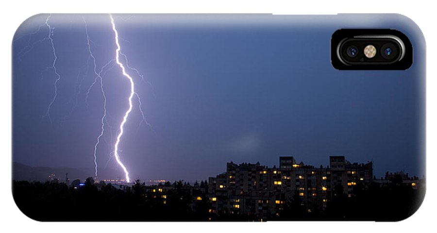 Weather IPhone X Case featuring the photograph Lightning Strike by Ian Middleton