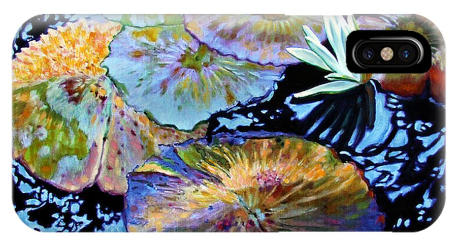 Water Lilies IPhone X Case featuring the painting Lily Pad Palettes by John Lautermilch