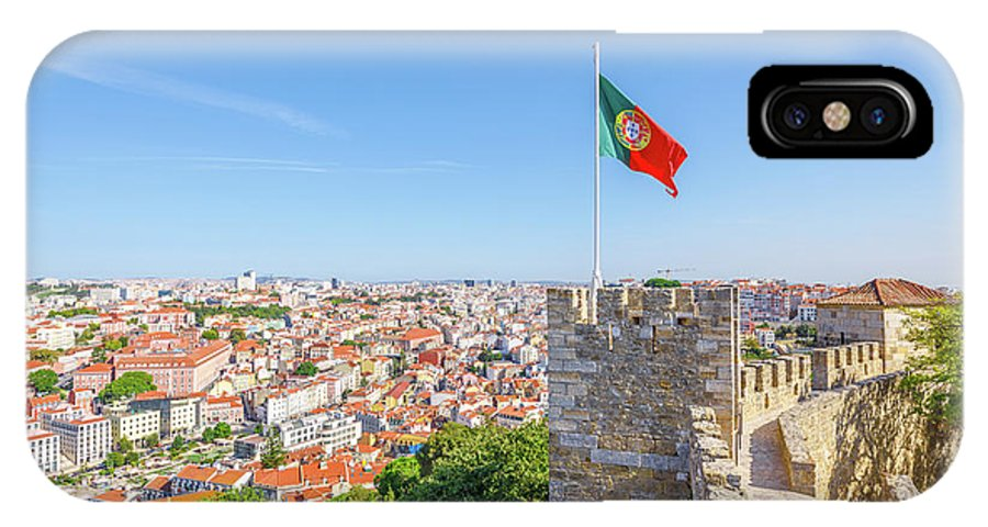 Lisbon IPhone X Case featuring the photograph Lisbon Castle Flag by Benny Marty