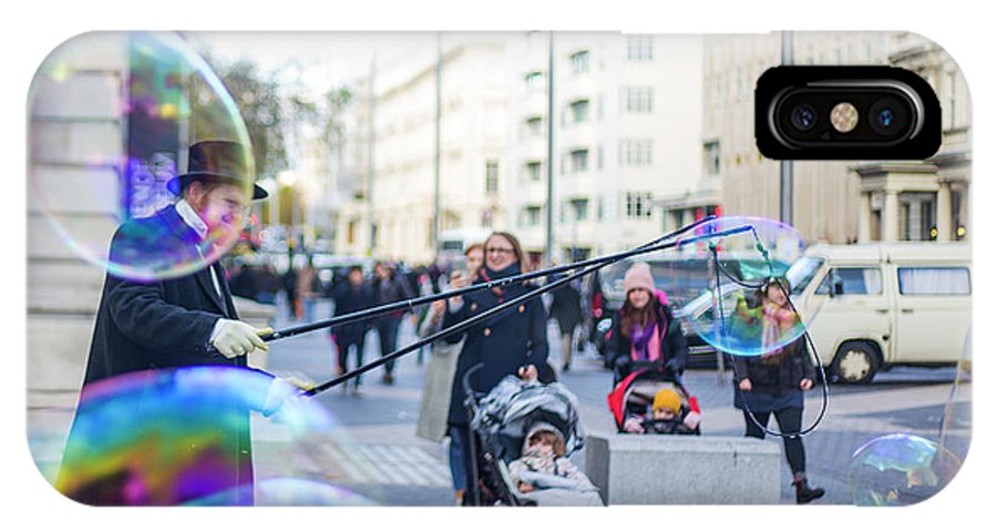 Street Artist IPhone X Case featuring the photograph London Bubbles 8 by Alex Art and Photo