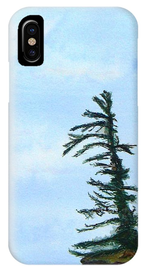 Tree IPhone X Case featuring the painting Lone Sentinel by Peggy King