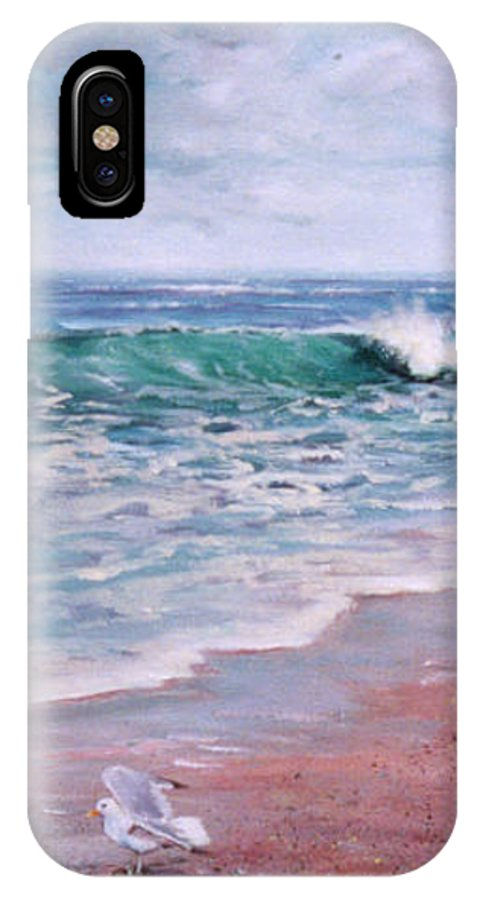 Acrylic Painting IPhone X Case featuring the painting Lonely Gull by Laura Lee Zanghetti