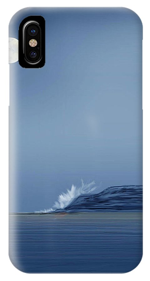 Seascape IPhone Case featuring the painting Looking At The Moon by Anne Norskog