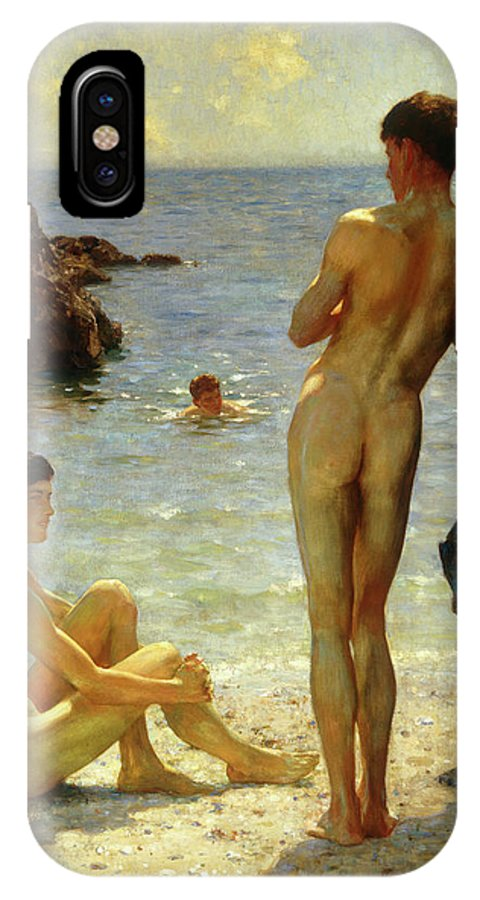 Henry Scott Tuke IPhone X Case featuring the painting Lovers Of The Sun by Henry Scott Tuke