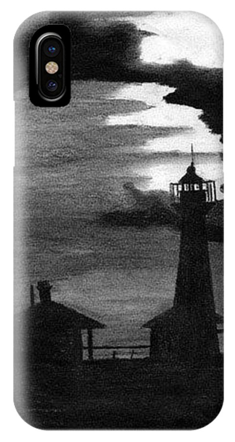 Landscape IPhone Case featuring the drawing Lydia Ann Lighthouse by Adam Johnson